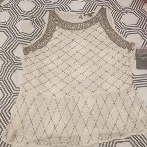 Zara sheer beaded top
